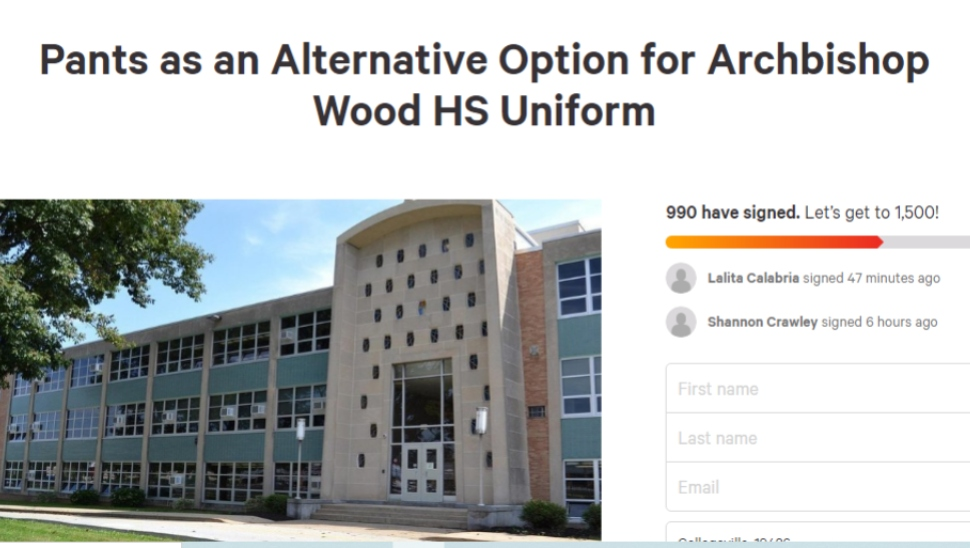Archbishop Wood High School Girls' Uniform policy pants