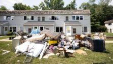Bucks County flood victims belongings drying in the Bristol sun.