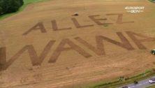 """Allez Wawa"" mowed into a French field."