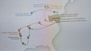 A map at the Penn Museum in Philadelphia shows the forced migration of members of the Lenape Nation.