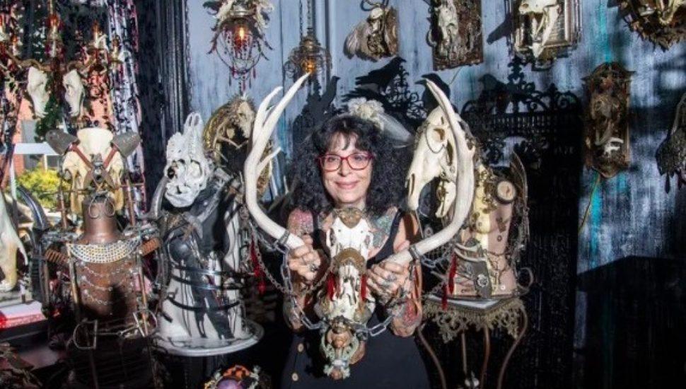 Sue Moerder with her unique skull art.