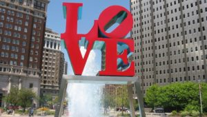 LOVE sculpture with fountain