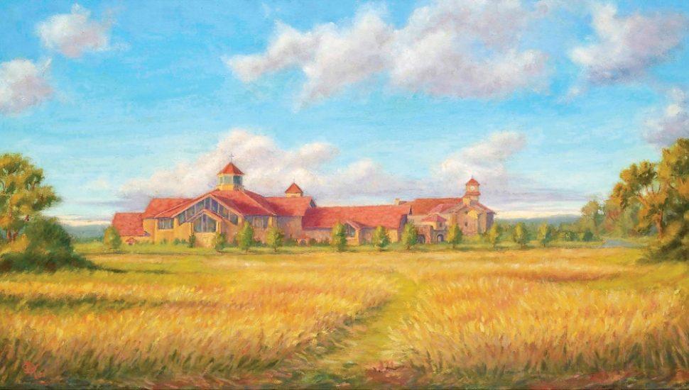 church in a field