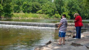 boy and woman fishing