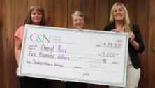 bank presents winner check