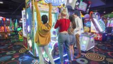 Girls playing Video games at Round1Entertainment