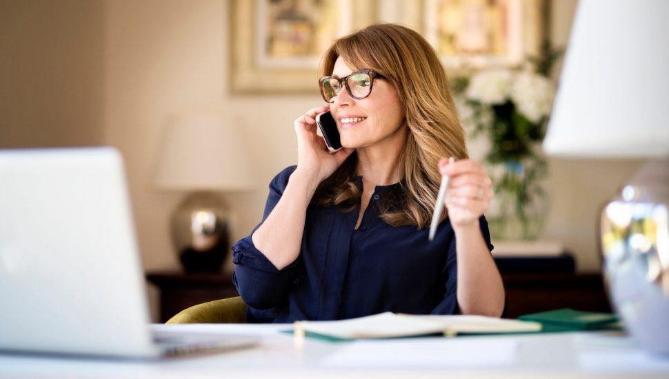 Woman making a telephone call