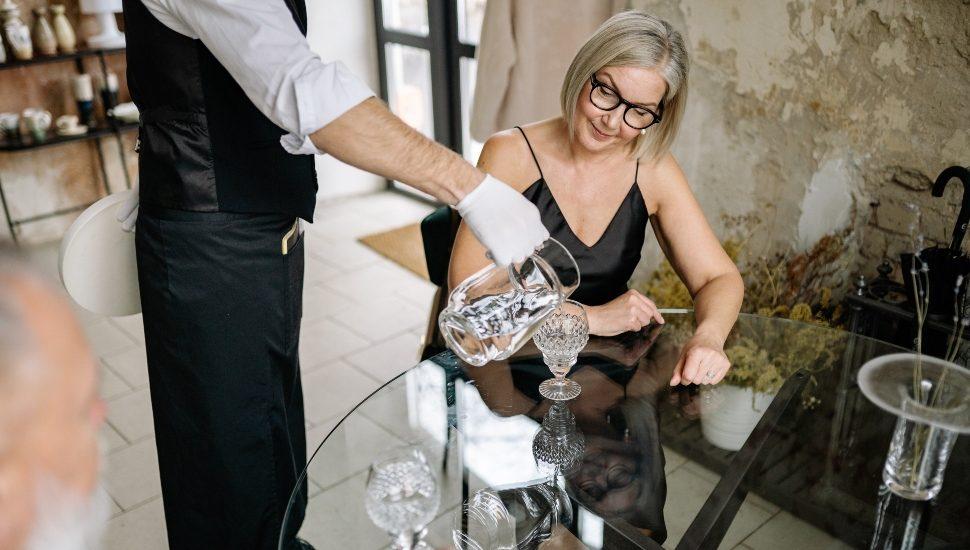 woman at table